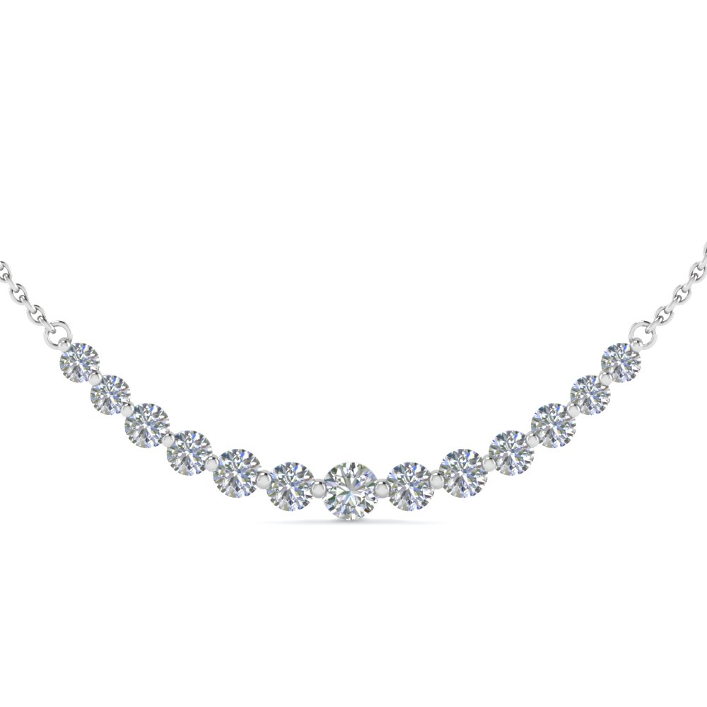 Top diamond necklace designs for women 1 carat round graduated diamond necklace mozeypictures Choice Image