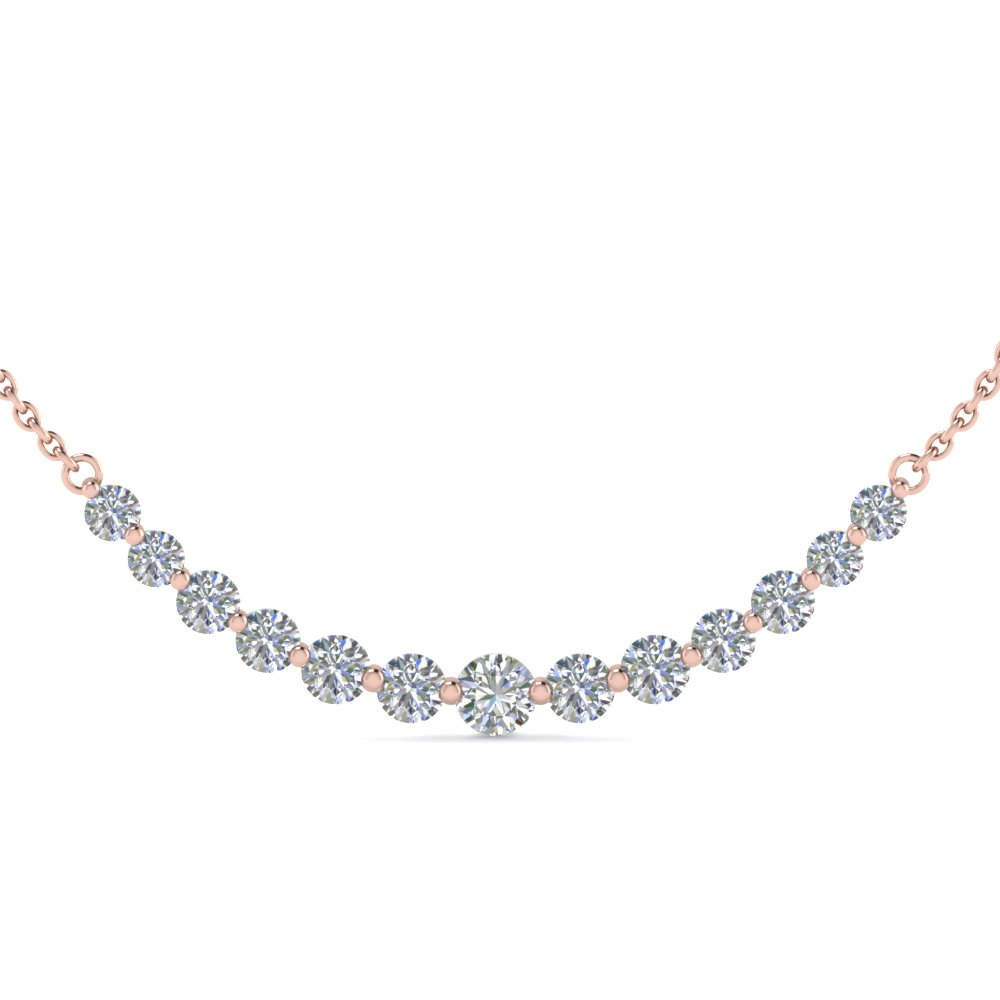 1.5 Carat Curved Rose Gold Diamond Necklace