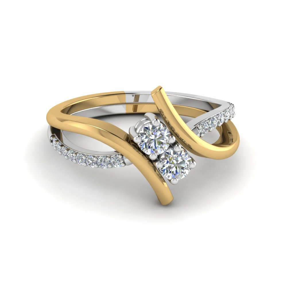 2 ring in two tone gold fascinating diamonds