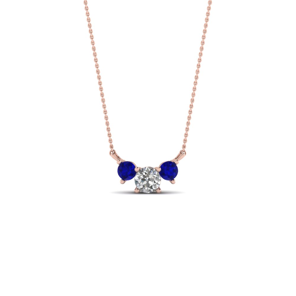 Alluring blue sapphire pendants fascinating diamonds 3 round diamond pendant necklace with blue sapphire in 14k rose gold fdpd894gsabl nl rg aloadofball Image collections