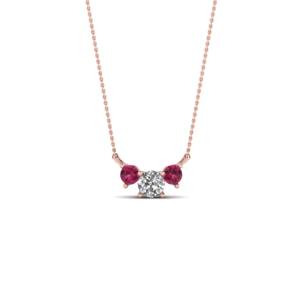 3 round diamond pendant necklace with pink sapphire in 14K rose gold FDPD894GSADRPI NL RG