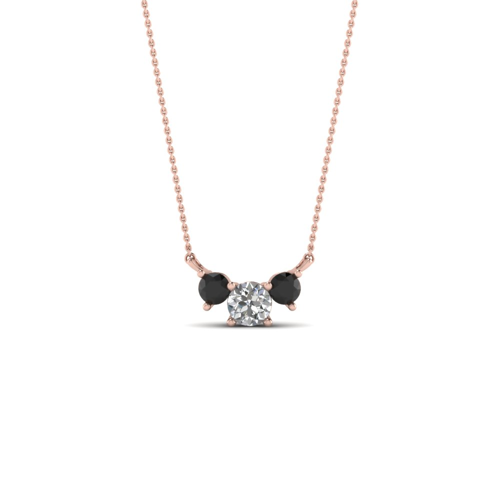 Find stunning black diamond pendant online fascinating diamonds 3 round pendant necklace with black diamond in 14k rose gold fdpd894gblack nl rg mozeypictures Images