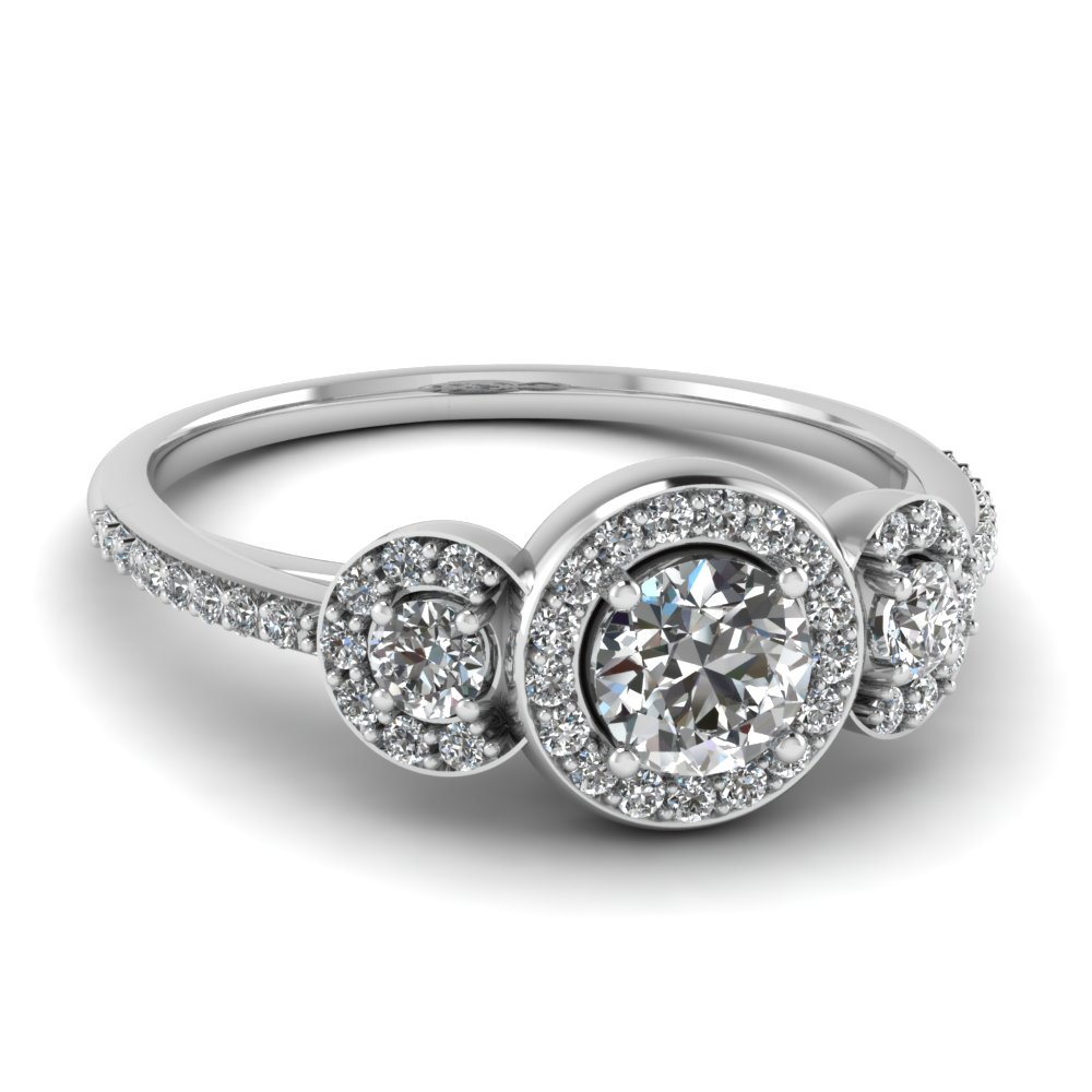 Stone Wedding Rings Stone Diamond Petite Halo Vintage Wedding Ring In 14K White Gold