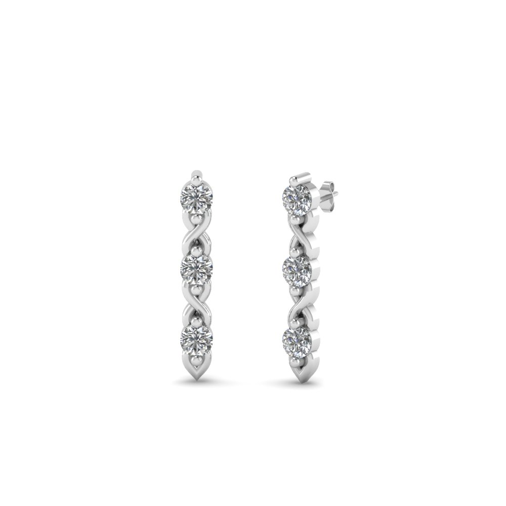 3 stone round diamond stud earring in FDEAR81618 NL WG