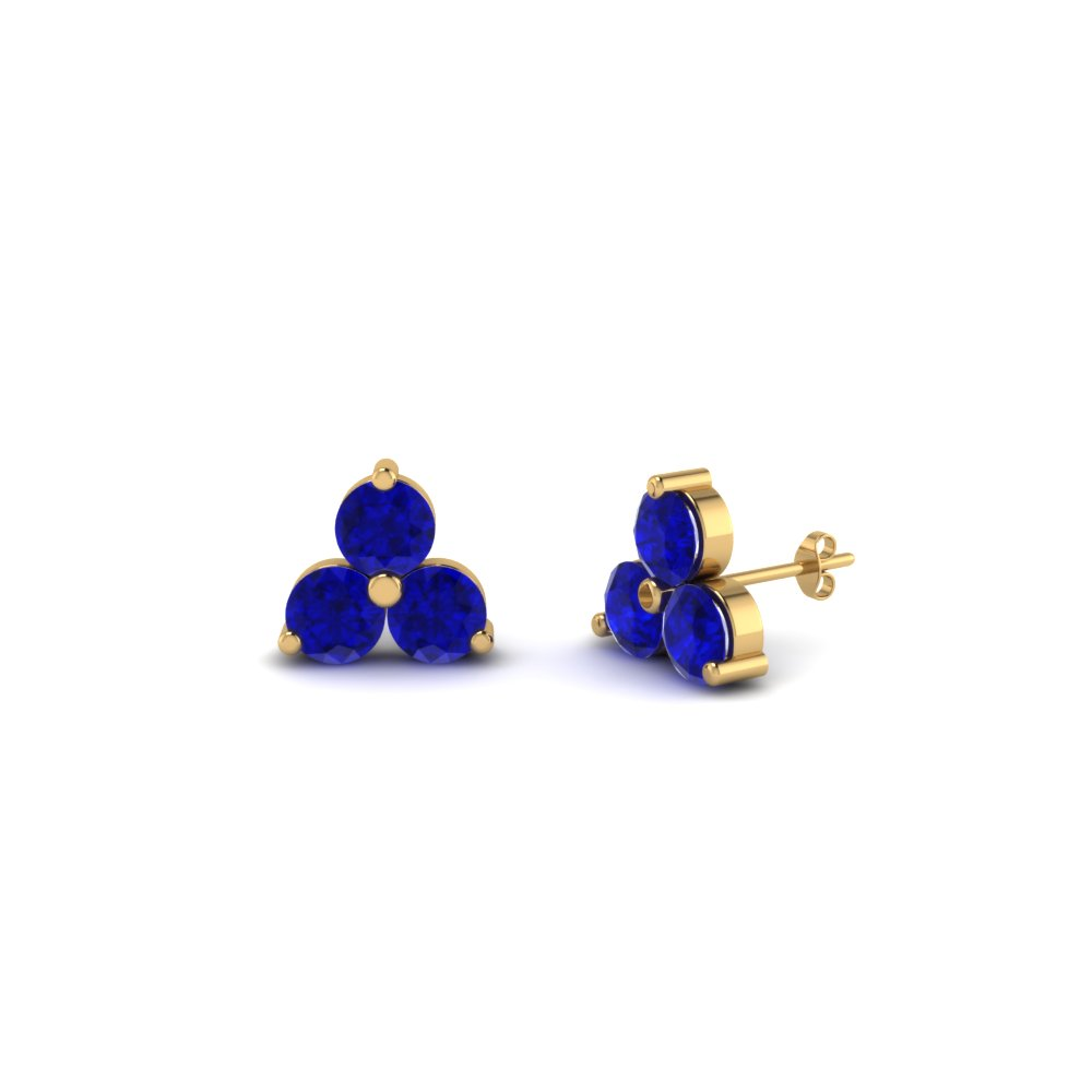 Womens 3 Stone Stud Earrings With Sapphire