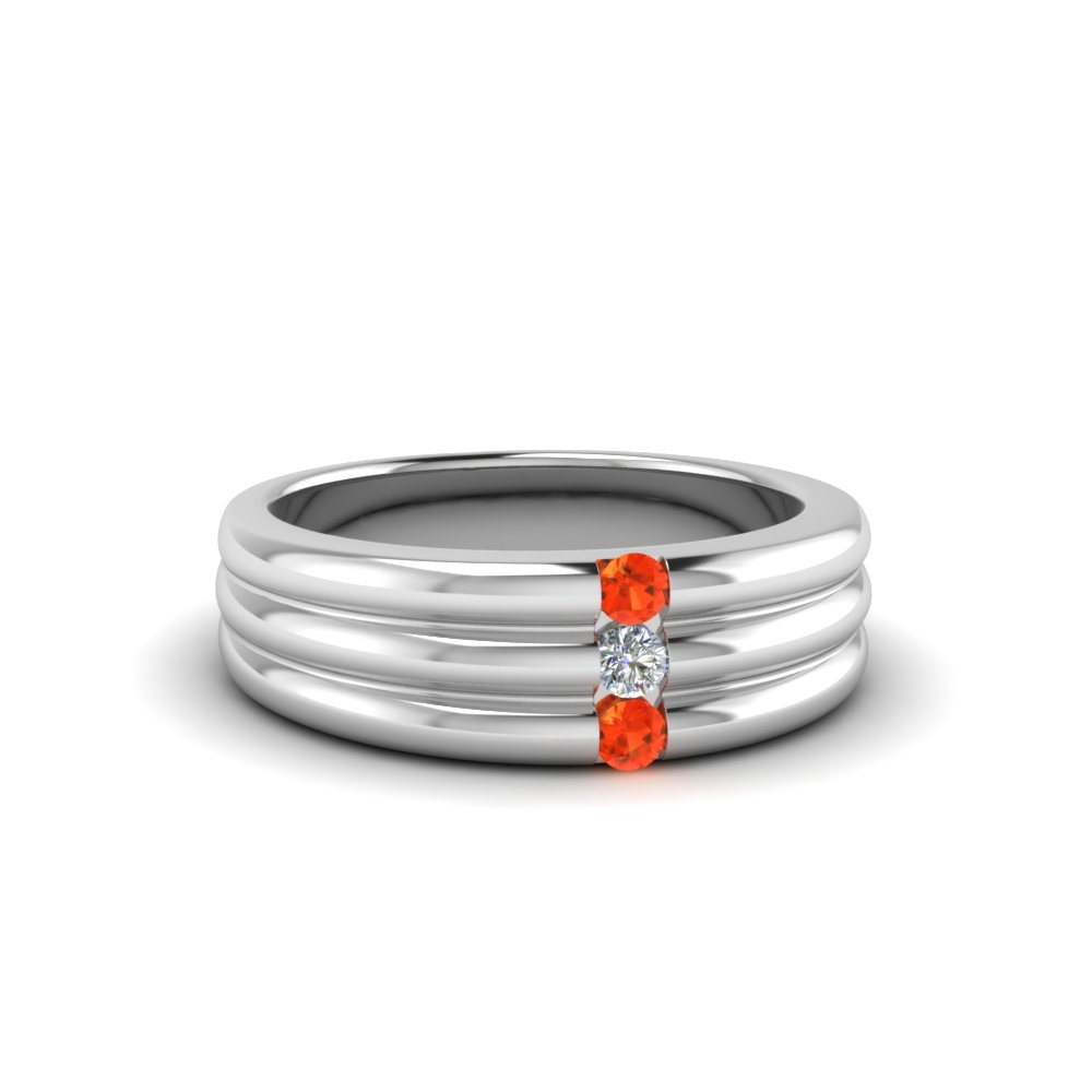 3 Stone Wedding Anniversary Band For Women With Poppy Topaz In FDWBS147BGPOTO NL WG