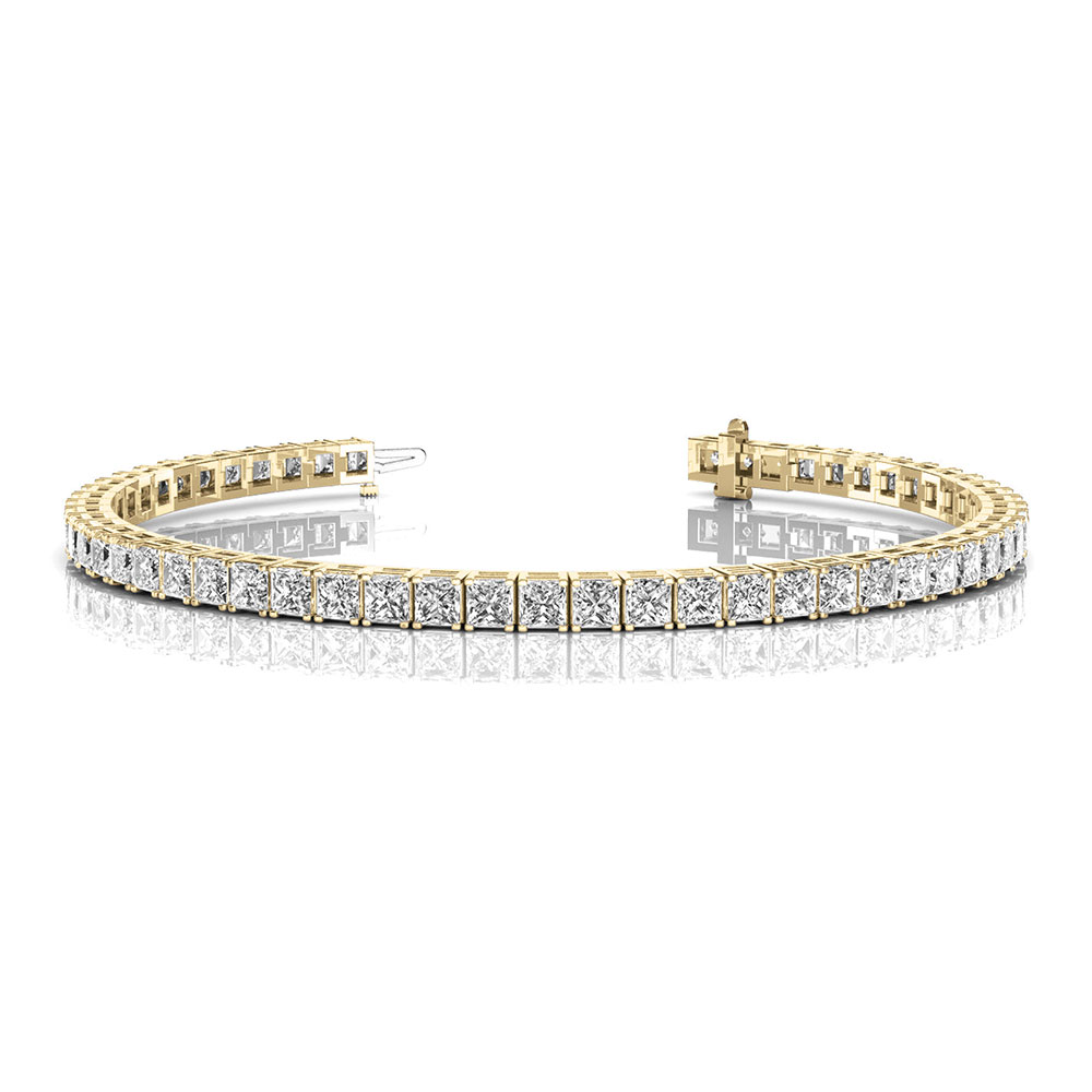 5 carat princess cut diamond tennis bracelet in 14K yellow gold FDOBR70160 NL YG