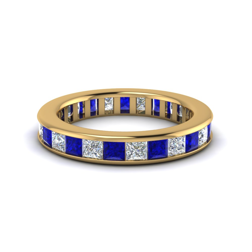 Channel Set Princess Cut Sapphire And Diamond Eternity Band in Yellow Gold