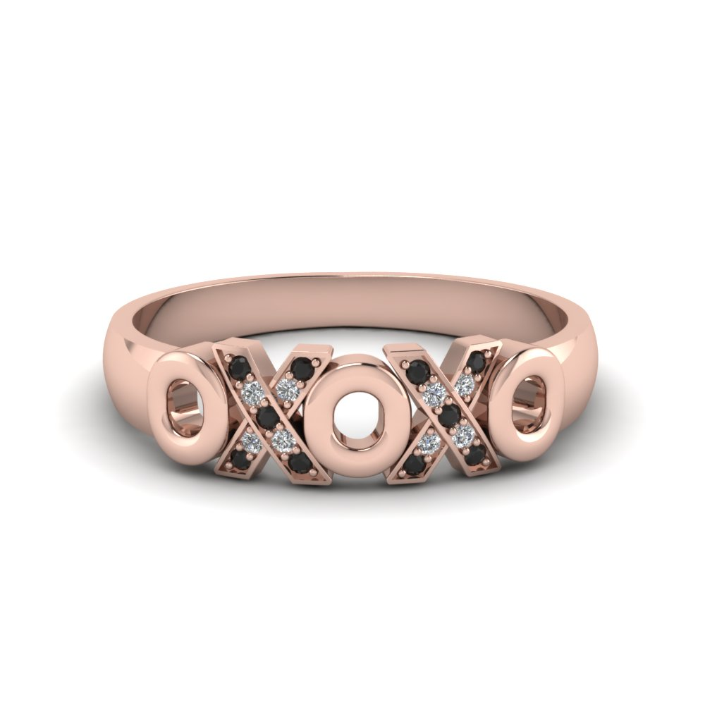 X O design pave band with black diamond in 14K rose gold FD120544BGBLACK NL RG