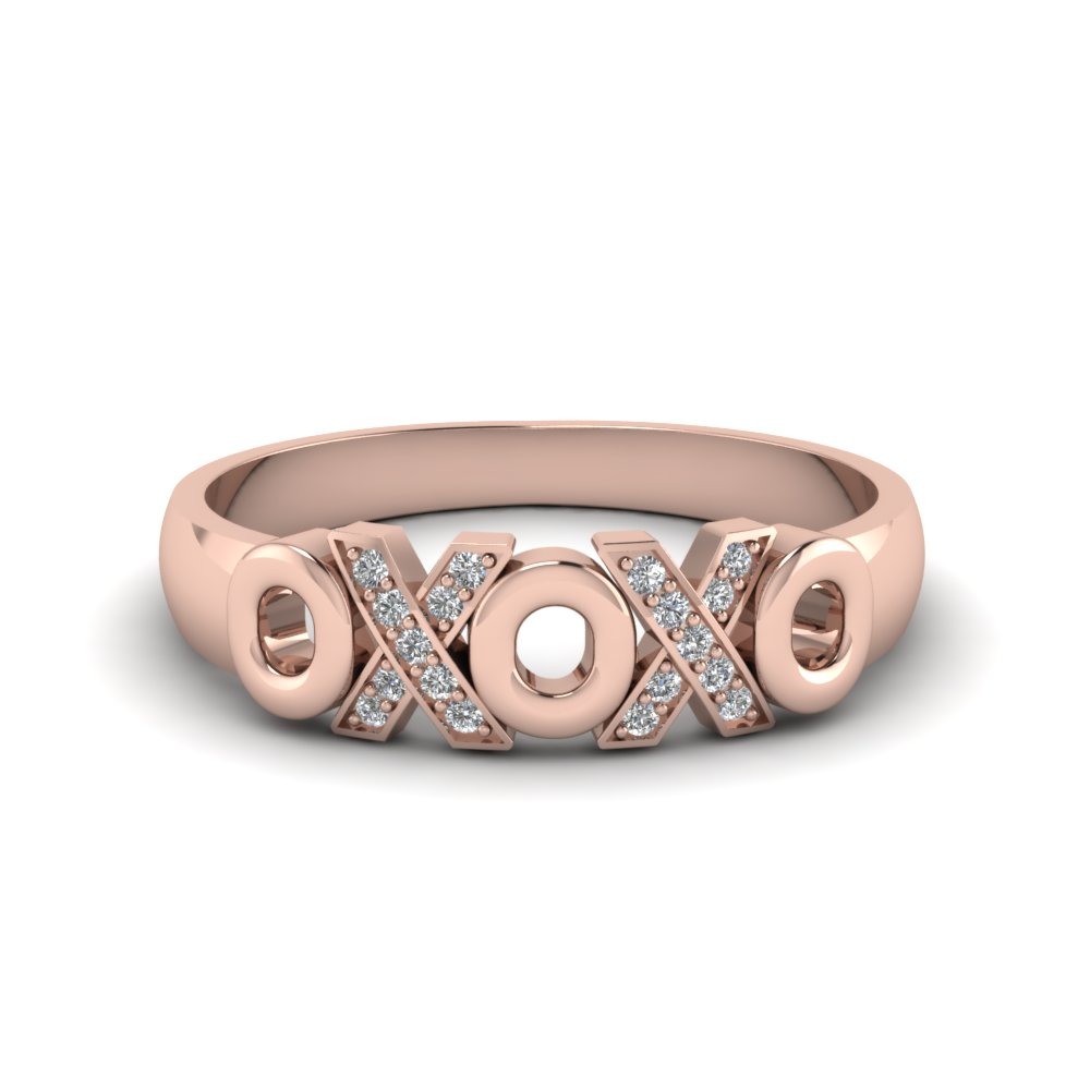X O design pave diamond band in 14K rose gold FD120544B NL RG