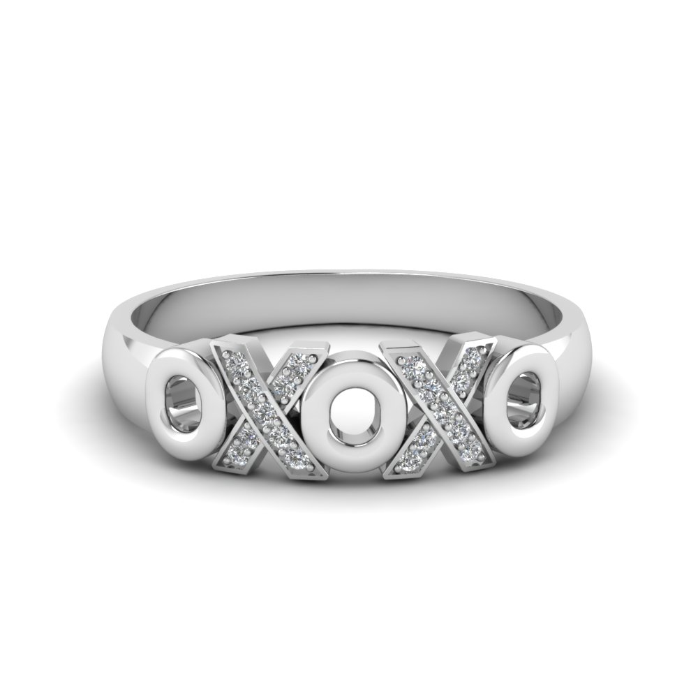 X O design pave diamond band in 14K white gold FD120544B NL WG