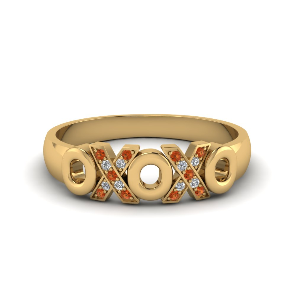 Wedding Band With Orange Topaz