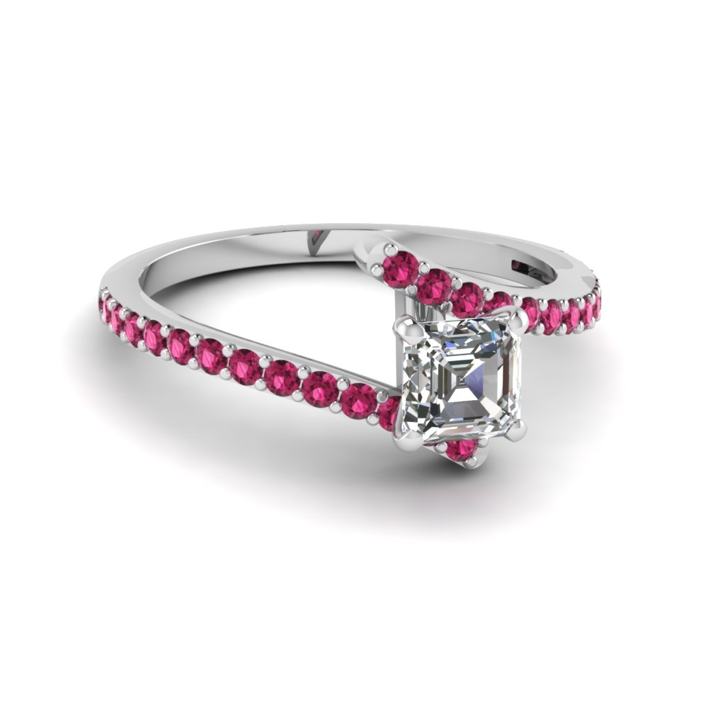 Pink Sapphire Accent And Asscher Swirl Proposal Ring