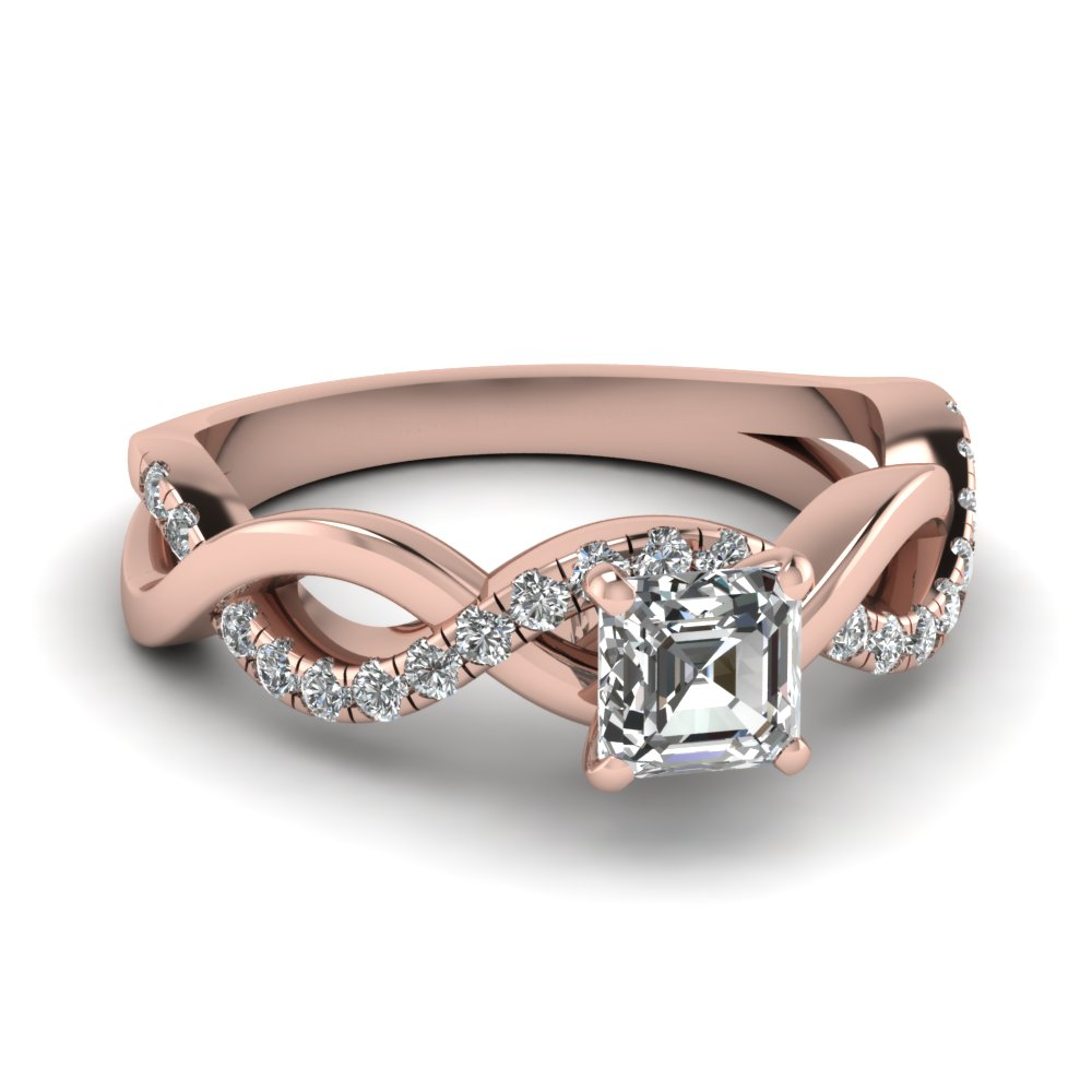 Rose Gold Asscher Cut Diamond Infinity Ring