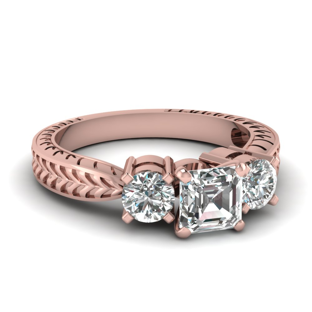 3 Stone Pink Gold Engagement Ring