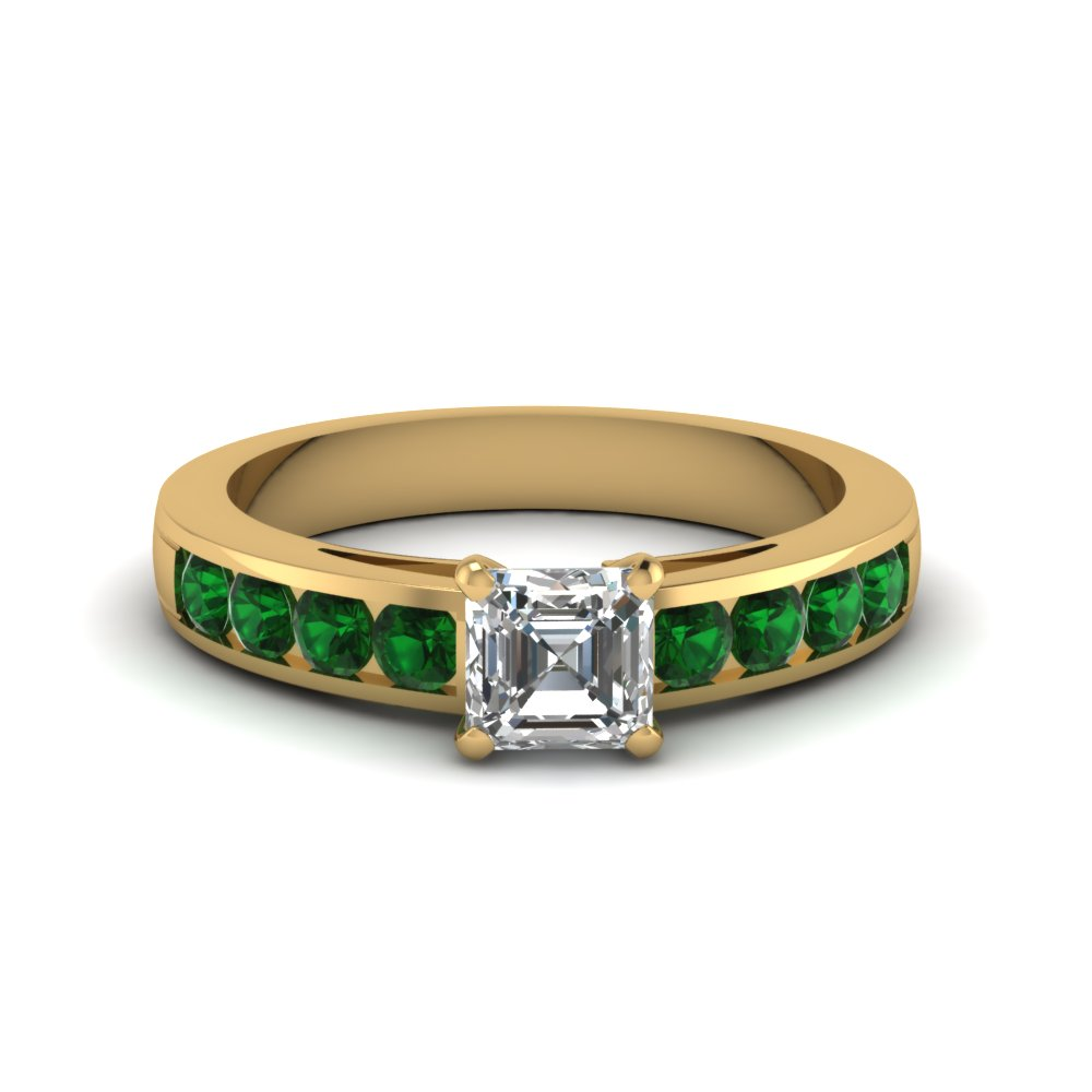 Stunning Channel Set Emerald Accents Gemstone Engagement Ring