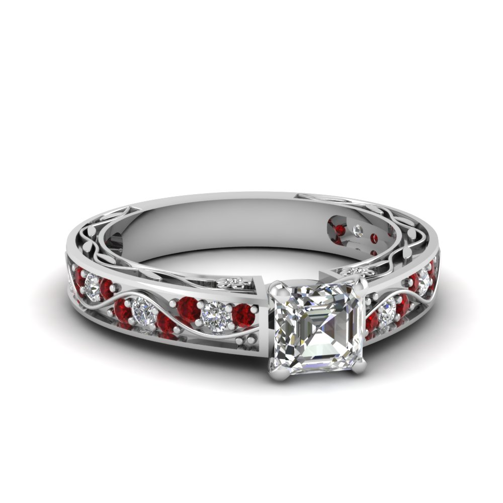 asscher cut diamond shank wave side stone engagement ring with red ruby in 14K white gold FDENS3543ASRGRUDR NL WG