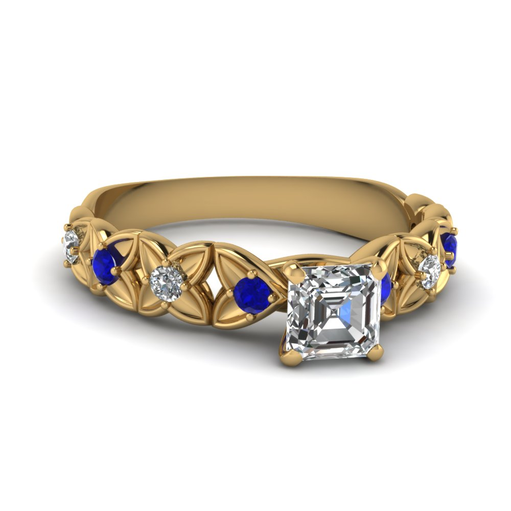 Sapphire And Asscher Cut Diamond Side Stone Rings