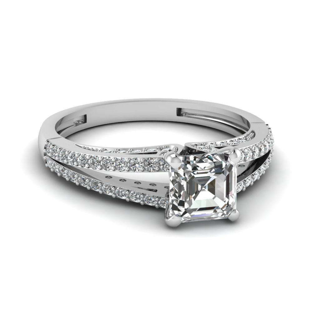 Asscher Cut Daimond Split Shank Engagement Ring In White Gold