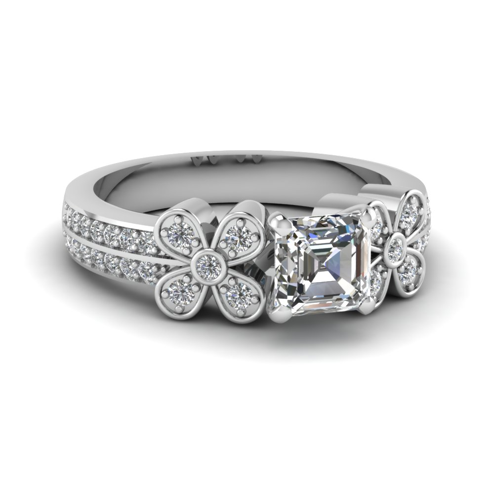 1/2 Carat Asscher Cut Diamond Engagement Ring