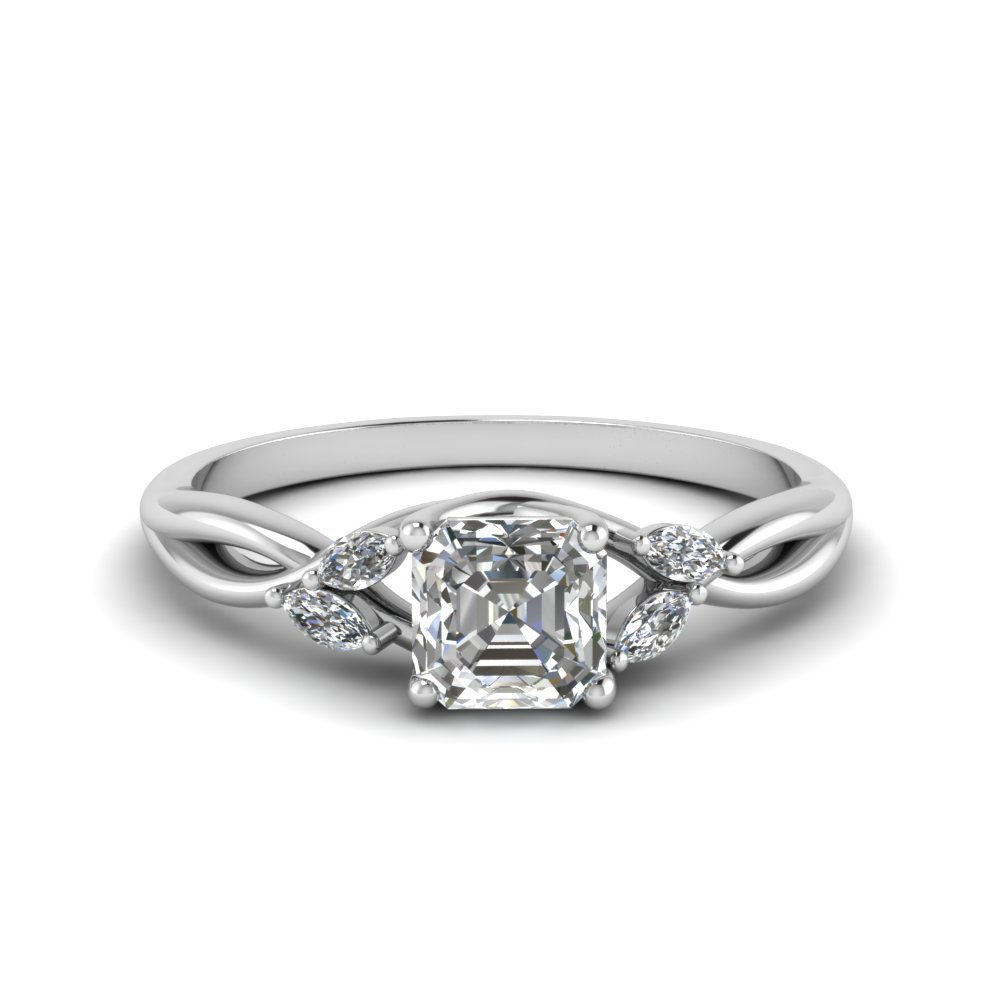 asscher cut twisted petal diamond engagement ring in FD8300ASR NL WG