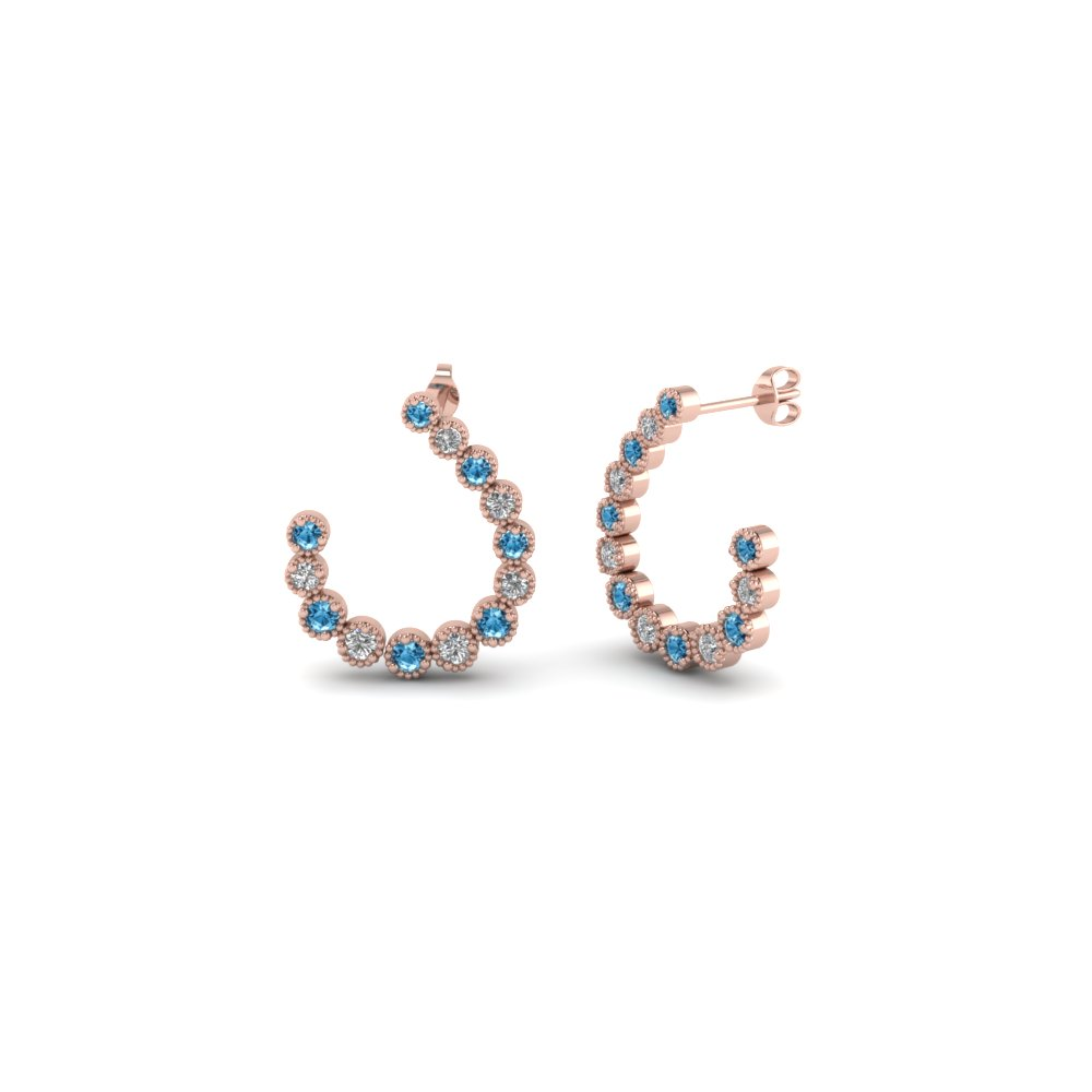 Topaz And Diamond J Hoop Earrings