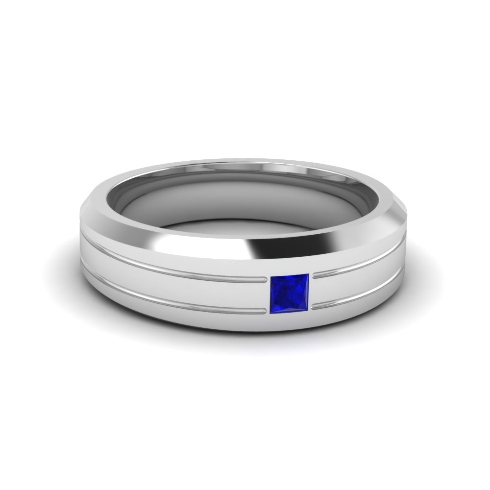 Single Princess Cut Sapphire Wedding Band For Men in Platinum