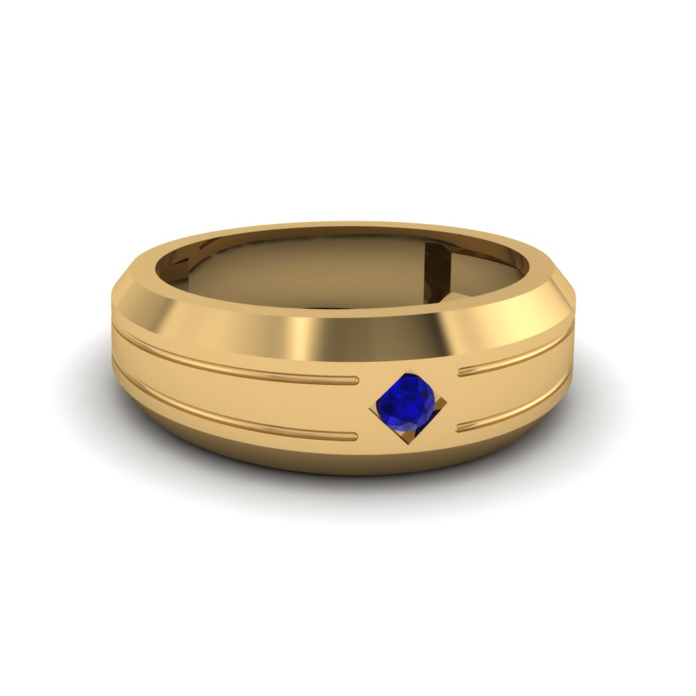 Single Round Sapphire Wedding Band For Men In Yellow Gold