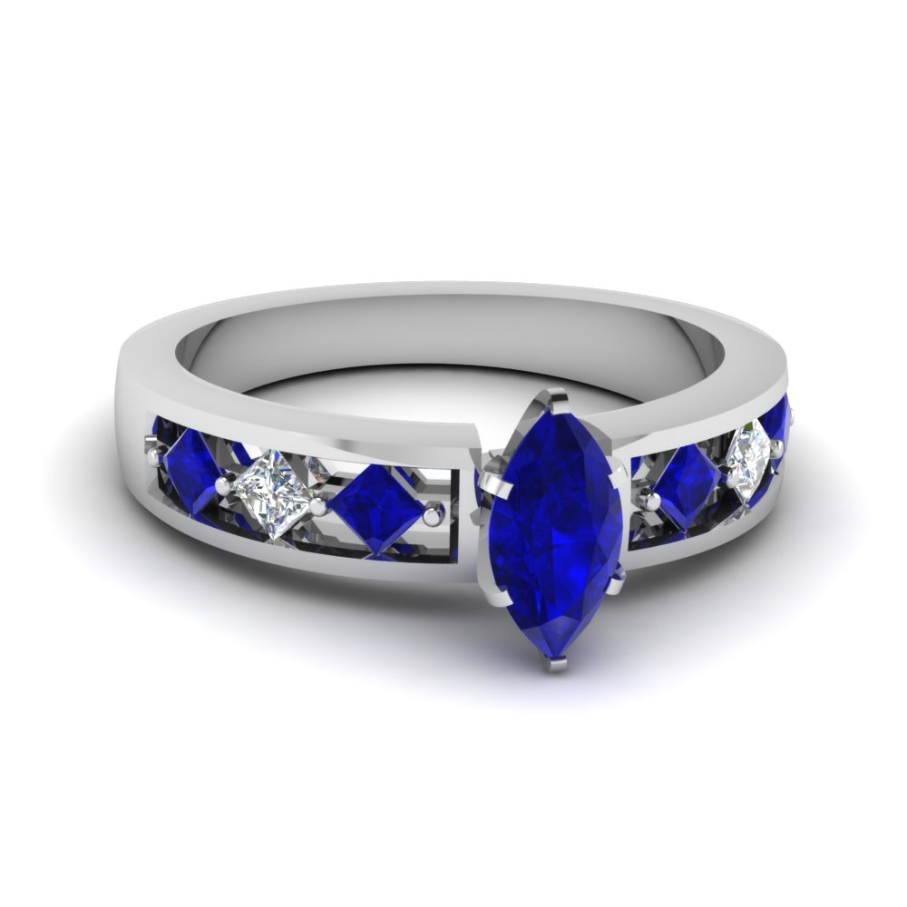 Marquise Blue Sapphire Engagement Ring in White Gold