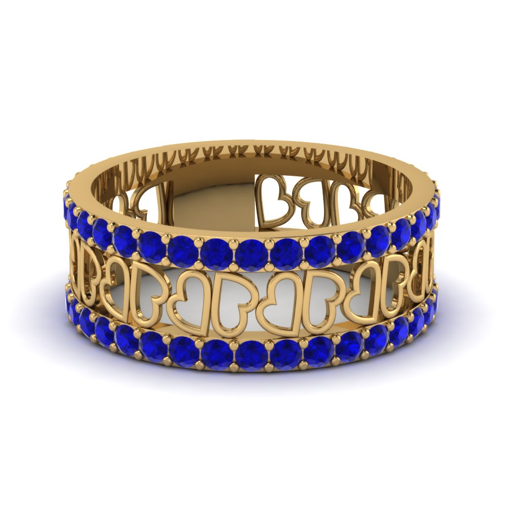 Heart Style Wide Sapphire Band for Women in Yellow Gold