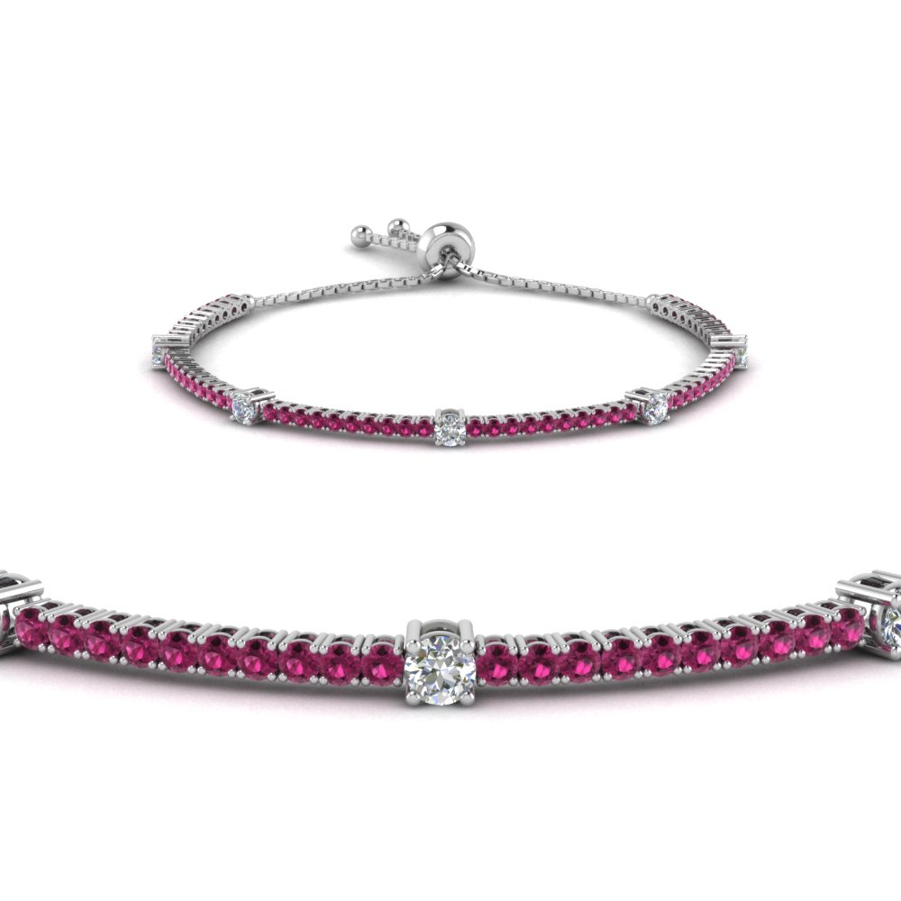 Bolo Clic Design Diamond Bracelet With Pink Shire In Fdct 227 1732sbgsadrpiangle2 Nl Wg