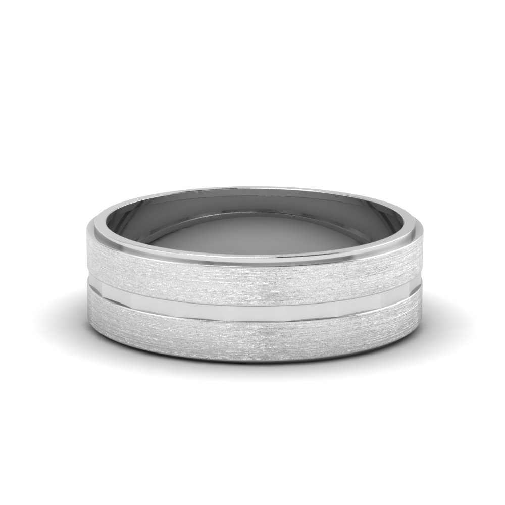 brushed finished gold mens band in 14K white gold FDM287 NL WG