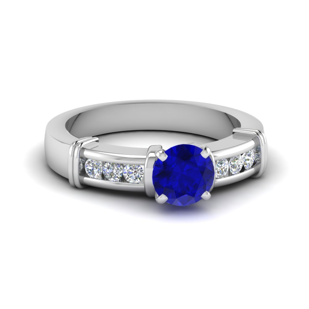 Channel Set Diamond And Sapphire Engagement Ring in White Gold