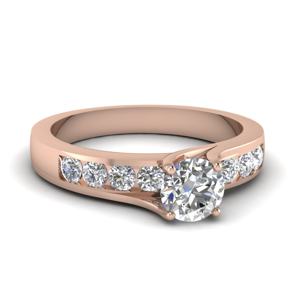 Channel Set Round Diamond Accented Ring