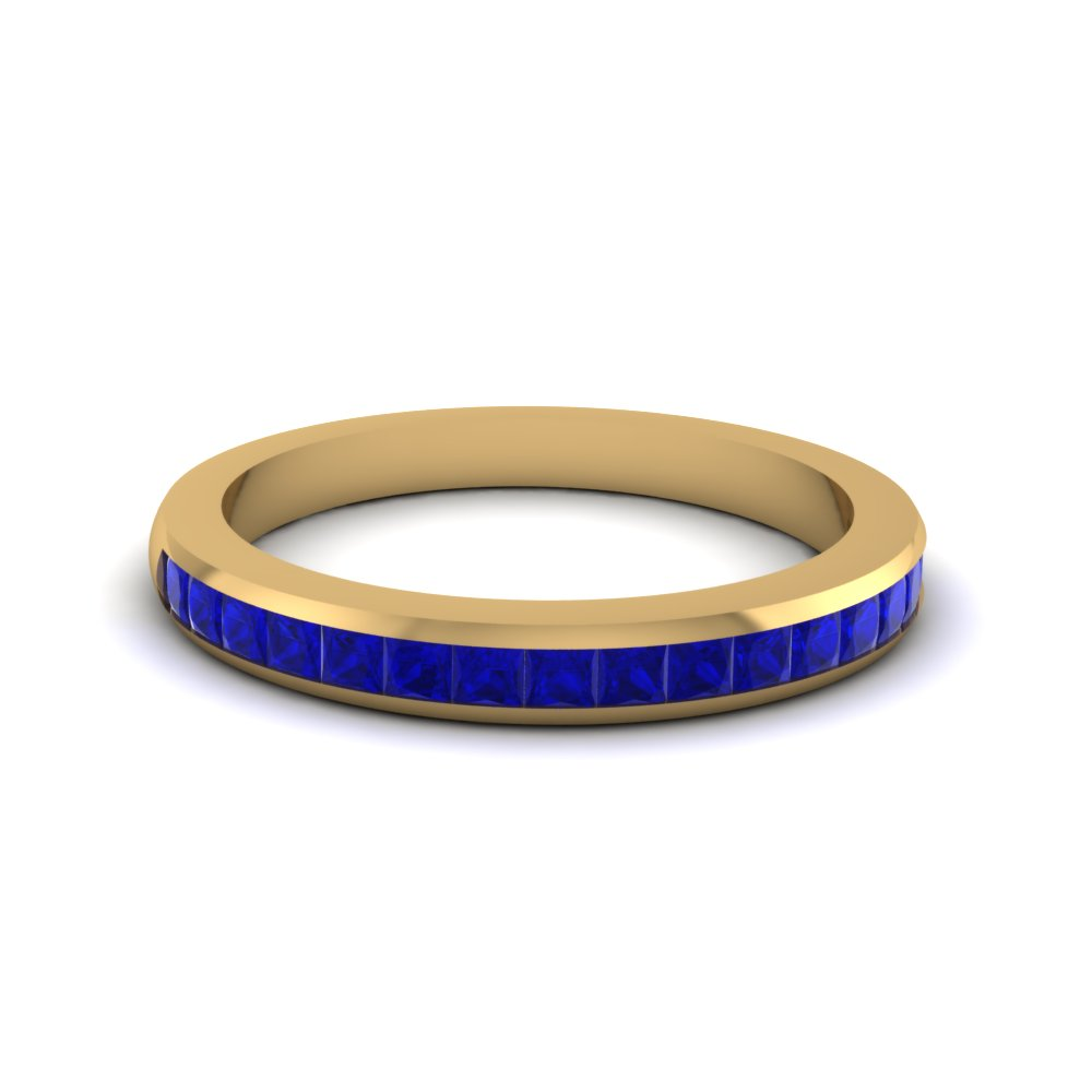 Channel Set Sapphire Wedding Band for Women in Yellow Gold