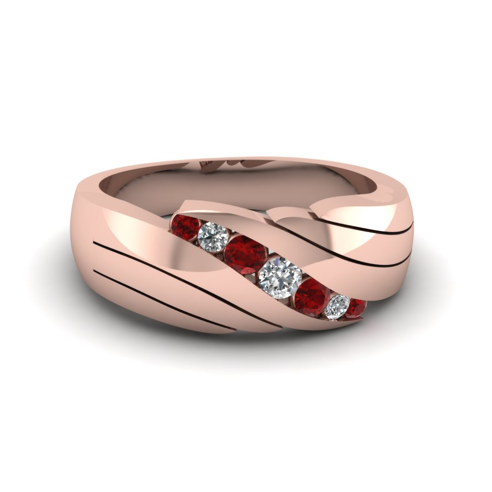 graduated diamond and ruby ring for men