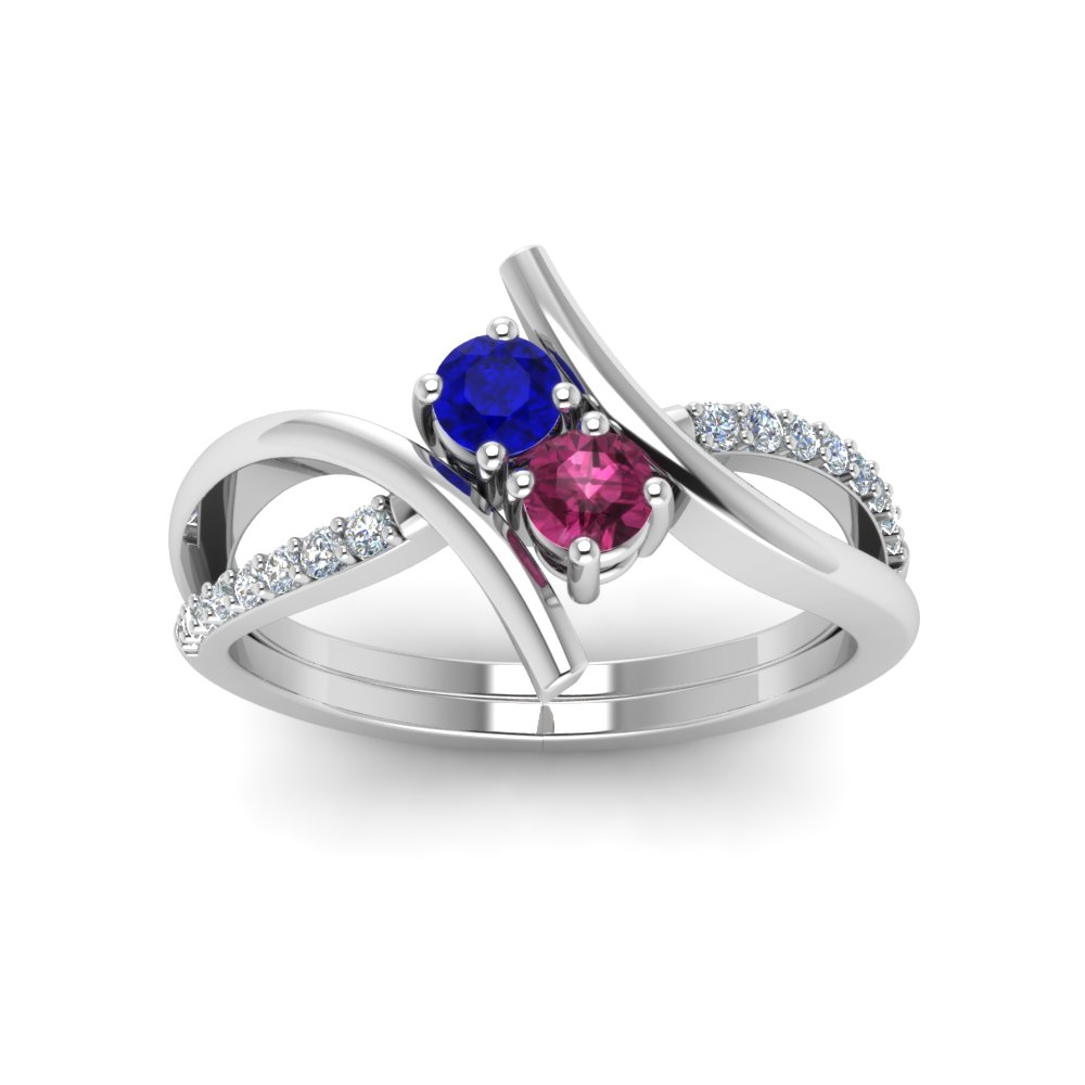 Crossover 2 Sapphire And Diamond Engagement Ring in White Gold