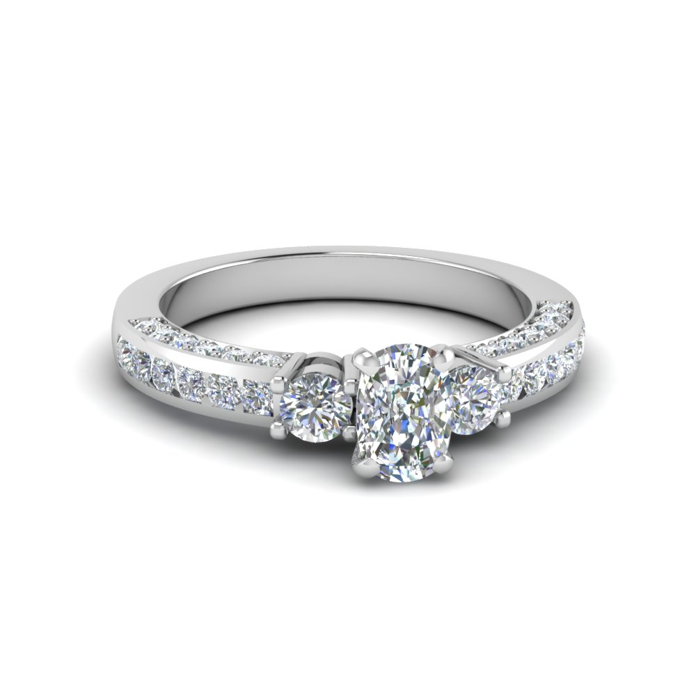 cushion cut channel set 3 diamond accent engagement ring in 14K white gold FDENS1091CUR NL WG