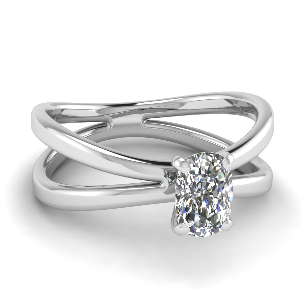 White Gold Solitaire Cushion Cut Ring