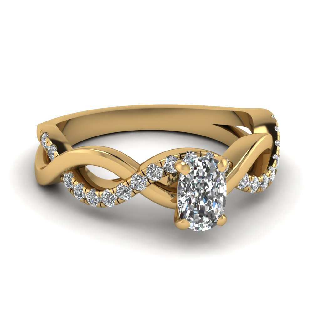Yellow Gold Cushion Cut Diamond Twist Style Ring