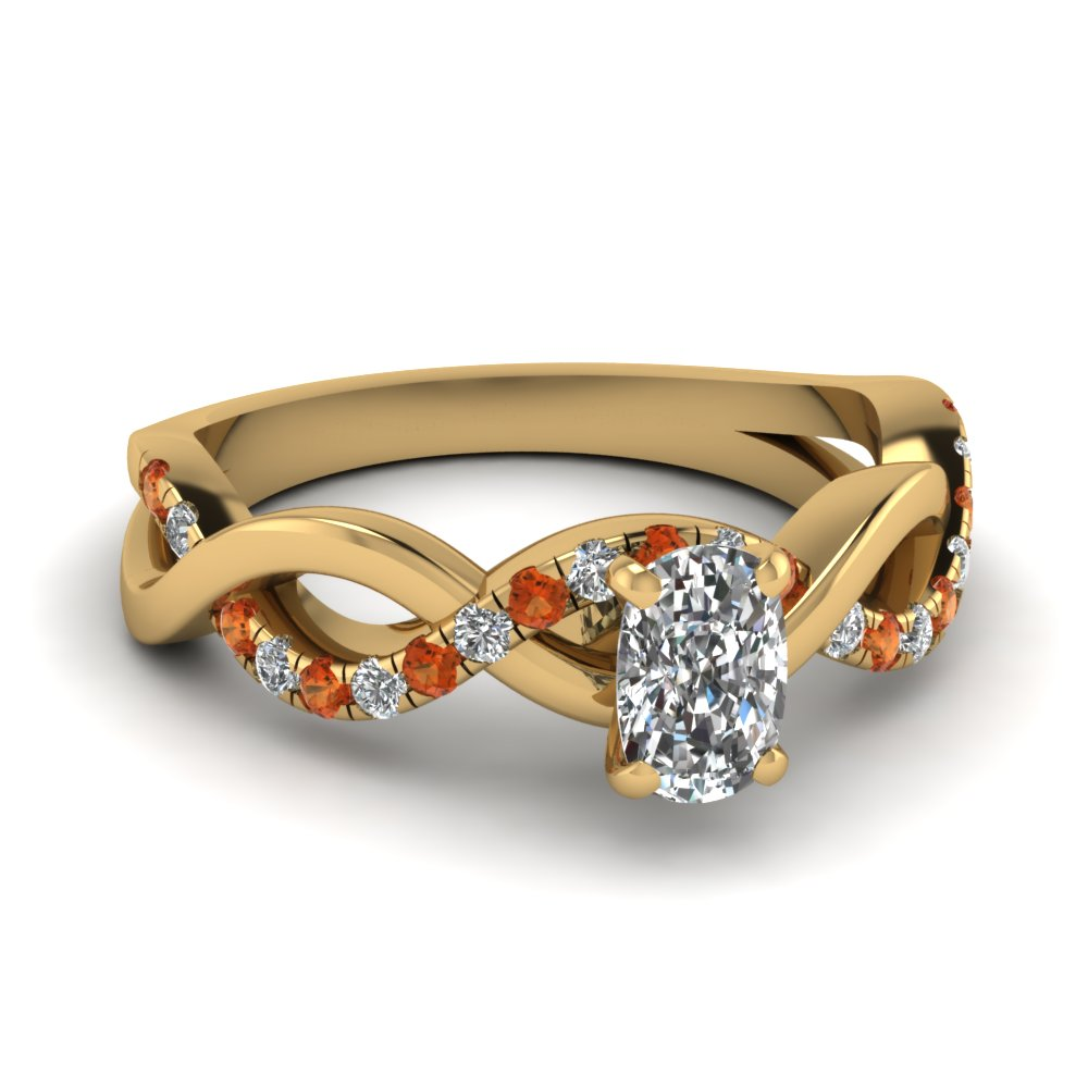 Cushion Orange Sapphire Infinity Ring