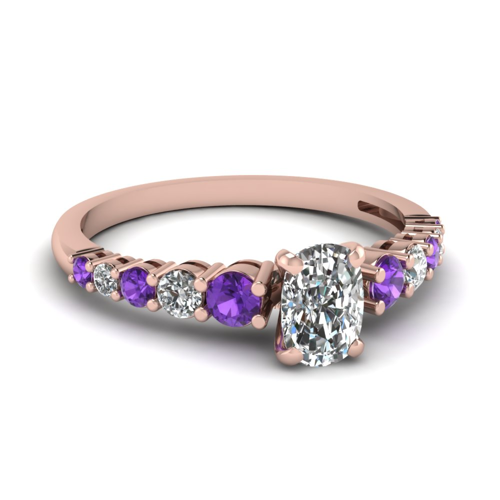 Purple Topaz And Diamond Cushion Proposal Ring