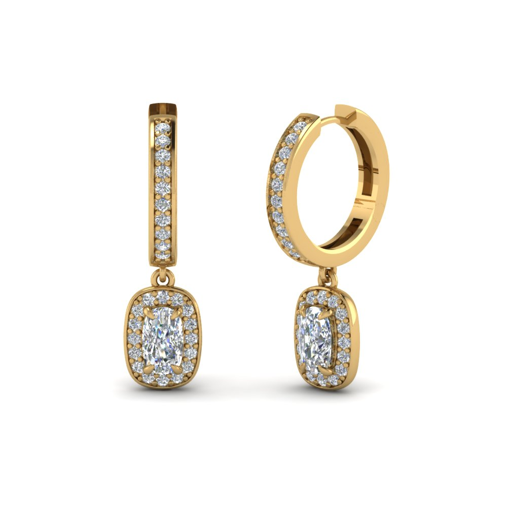 cushion cut diamond halo hoops earrings in 14K yellow gold FDEAR1185CU NL YG
