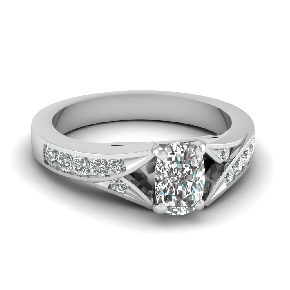 Cushion Cut Platinum Side Stone Engagement Ring