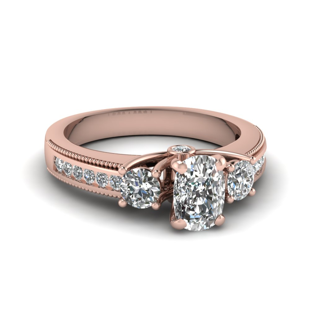 Cushion Cut Milgrain Engagement Ring