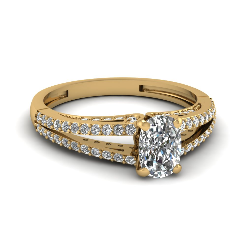 Gold Split Shank Round Accents Cushion Diamond Ring