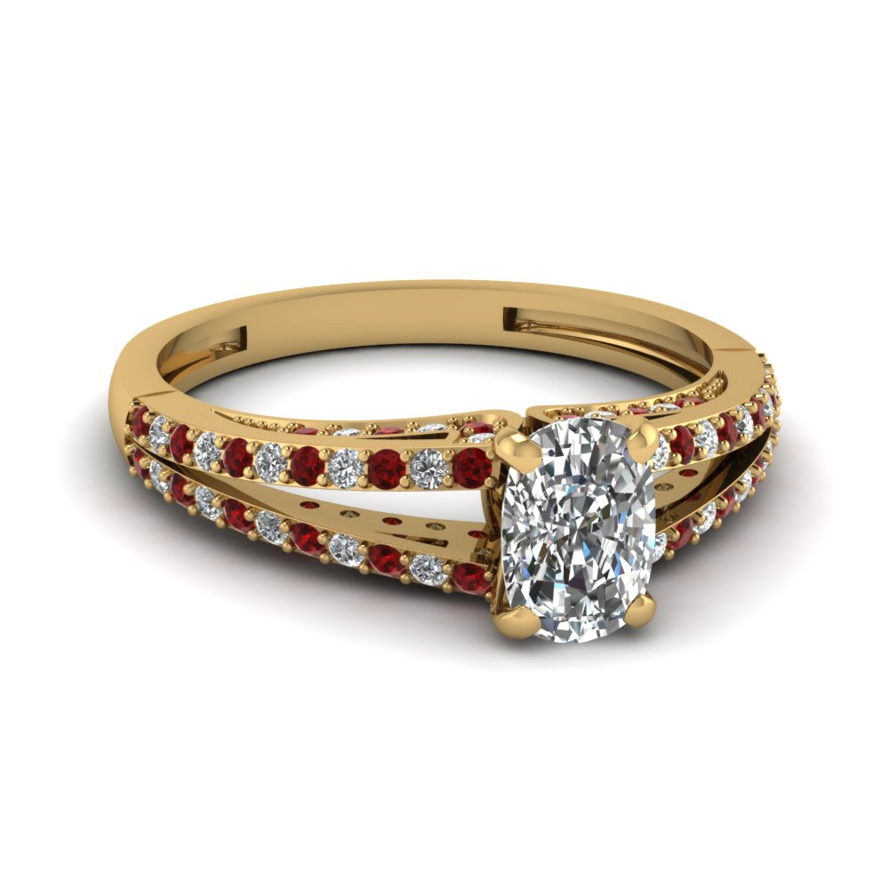 Cushion Cut Diamond And Ruby Split Engagement Ring In Yellow Gold
