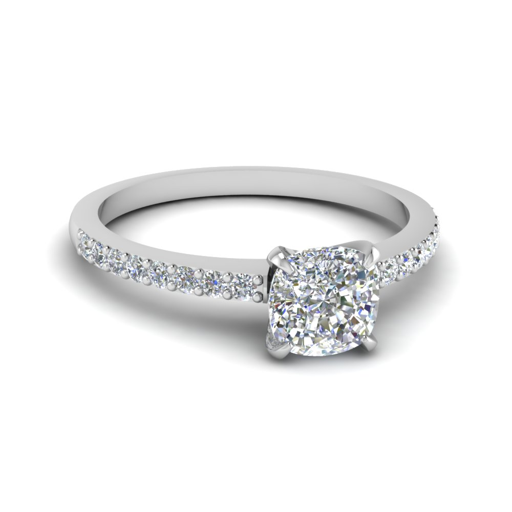 cushion cut diamond petite engagement ring - Affordable Diamond Wedding Rings