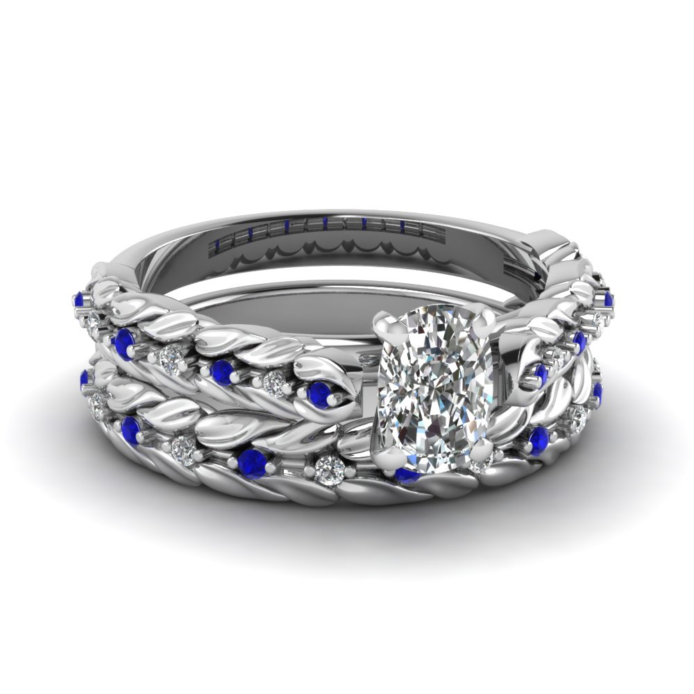 Fleur petal set fascinating diamonds for Blue sapphire wedding ring set