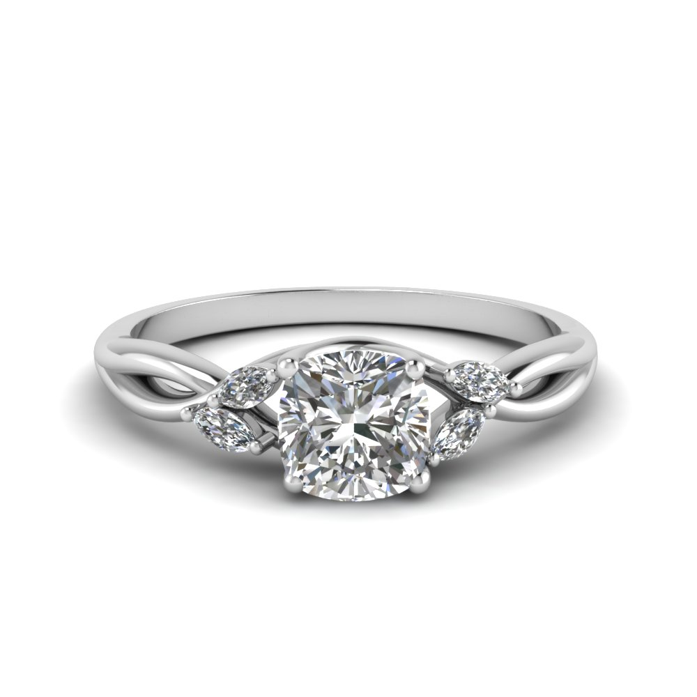 cushion cut twisted petal diamond engagement ring in FD8300CUR NL WG